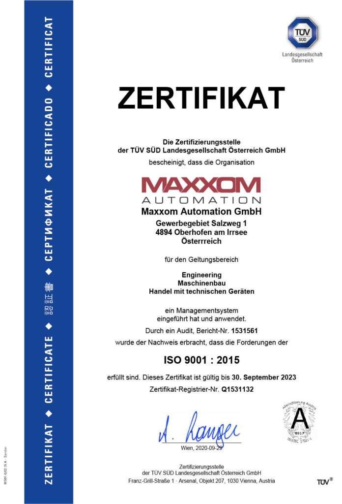 MAXXOM Zertifizierung ISO 9001 : 2015